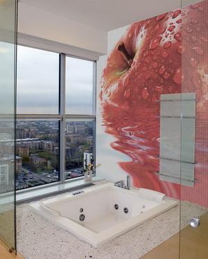 Baños modernos con murales en 3D