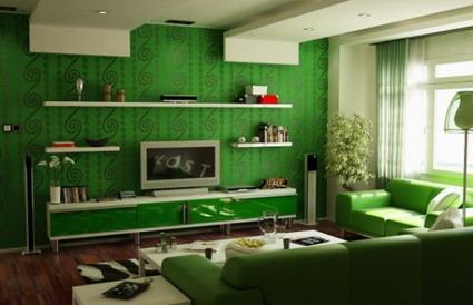 Color verde en el living
