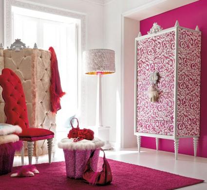 Decoración rosa para una habitación de lujo