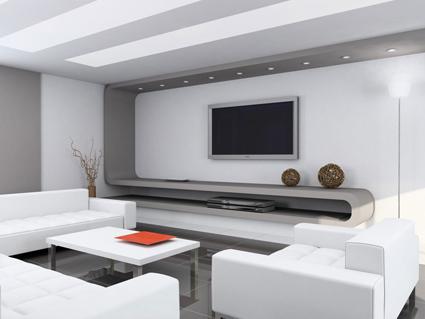 este saln de color blanco con mueble de diseo moderno