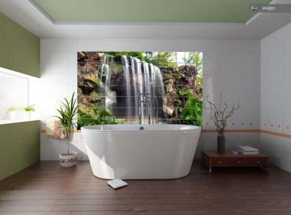 paisajes en el cuarto de ba o. Black Bedroom Furniture Sets. Home Design Ideas