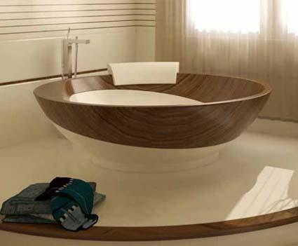 Madera y cerámica en baños