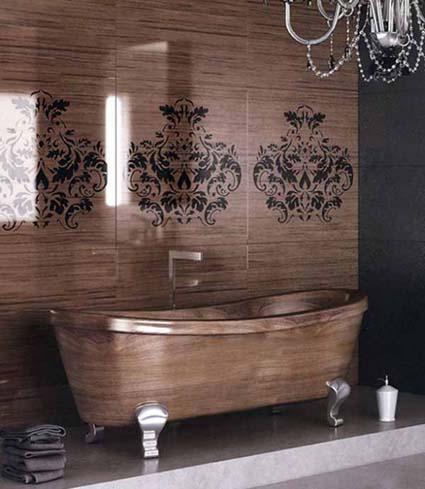 Un cuarto de baño de madera y cerámica