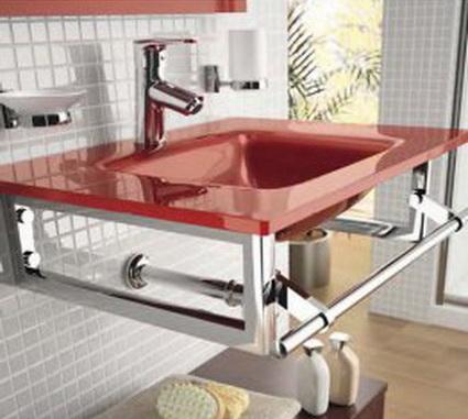 Lavabo de cristal rojo