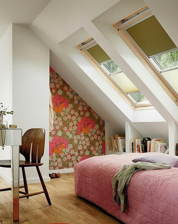 Papel pintado para habitaciones con techo inclinado