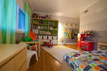 Una amplia habitación para niños