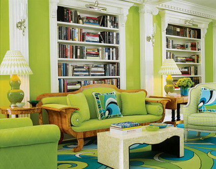 Color verde en el living