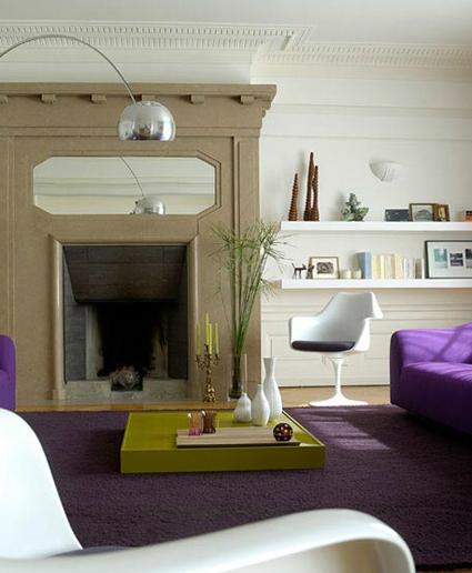 Un elegante recibidor morado