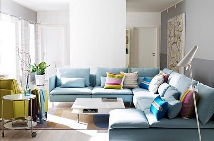 decoracion living celeste