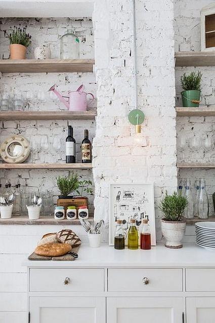 cocina pared ladrillos