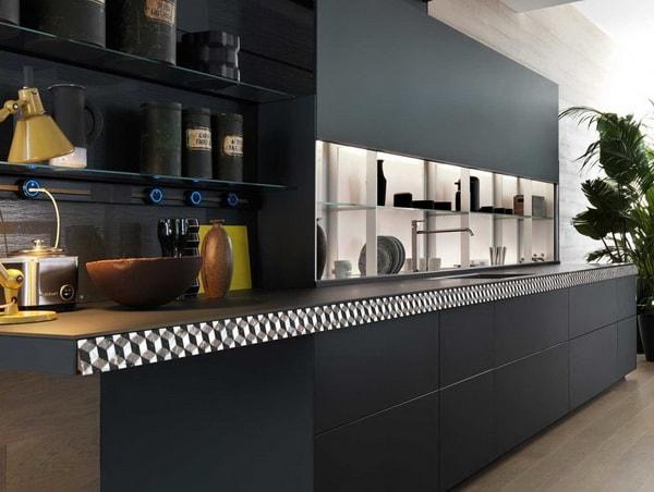 Cocina moderna en color negro